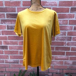 Mustard yellow velvet shirt